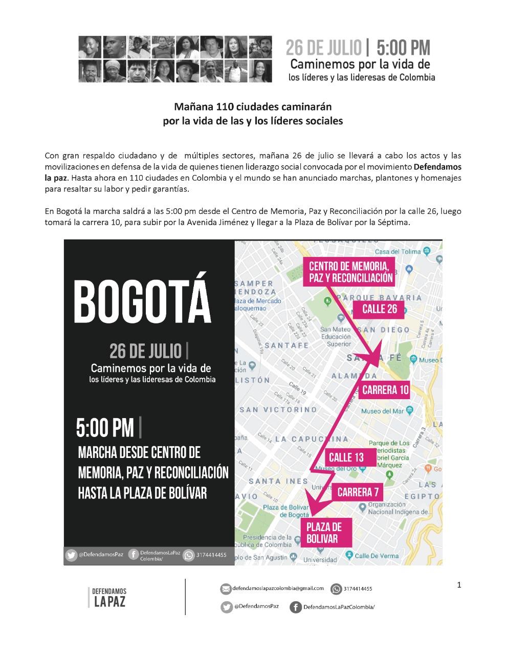 Ruta movilización #26dejulio